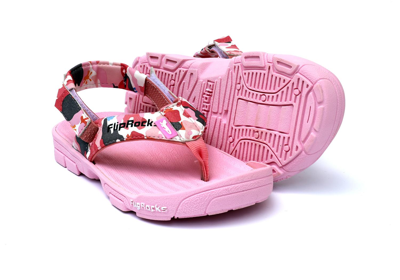 FlipRocks Kids Pink Flip Flops with Toe Guard, Arch